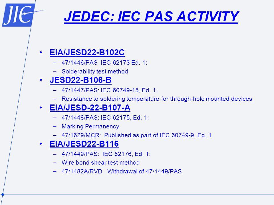 JEDEC: IEC PAS ACTIVITY EIA/JESD22-B102C –47/1446/PAS IEC 62173 Ed.