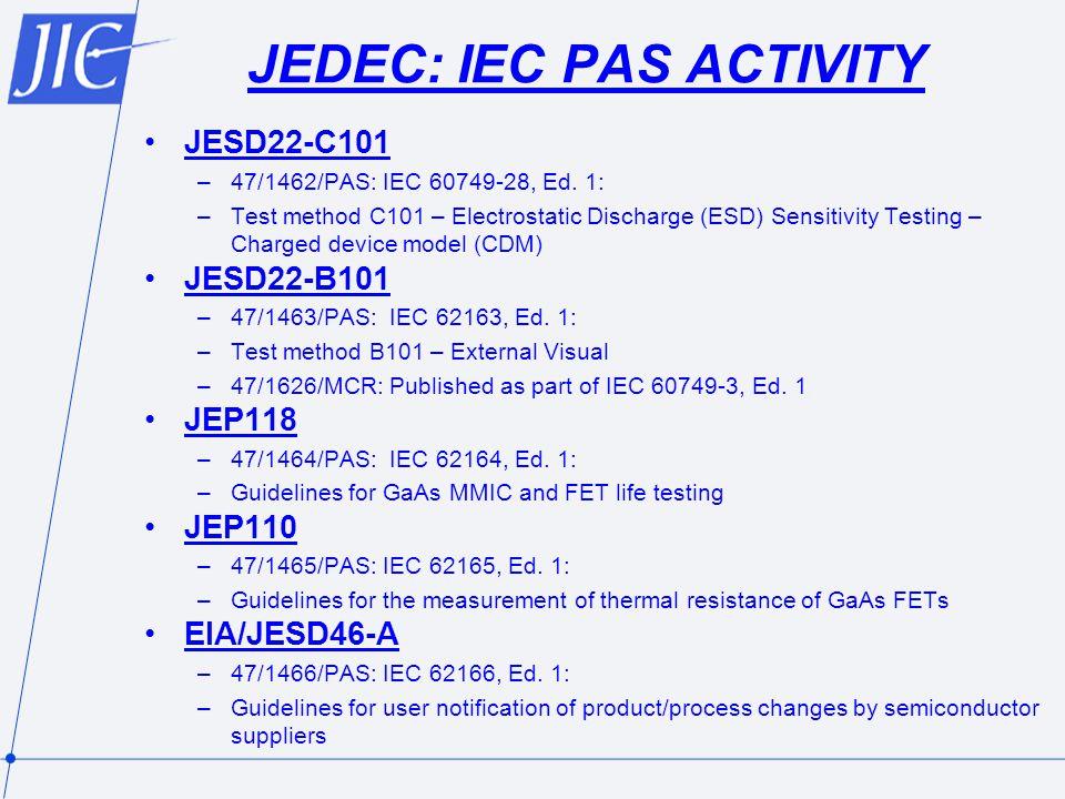 JEDEC: IEC PAS ACTIVITY JESD22-C101 –47/1462/PAS: IEC 60749-28, Ed.