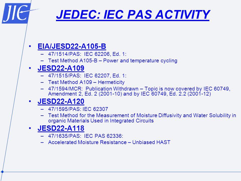 JEDEC: IEC PAS ACTIVITY EIA/JESD22-A105-B –47/1514/PAS: IEC 62206, Ed.