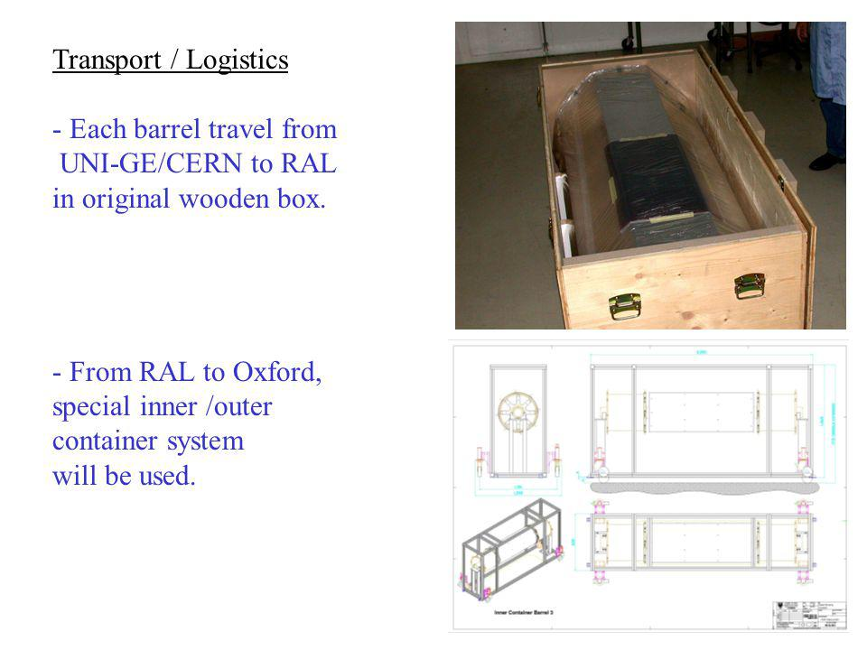 Transport / Logistics - Each barrel travel from UNI-GE/CERN to RAL in original wooden box. - From RAL to Oxford, special inner /outer container system