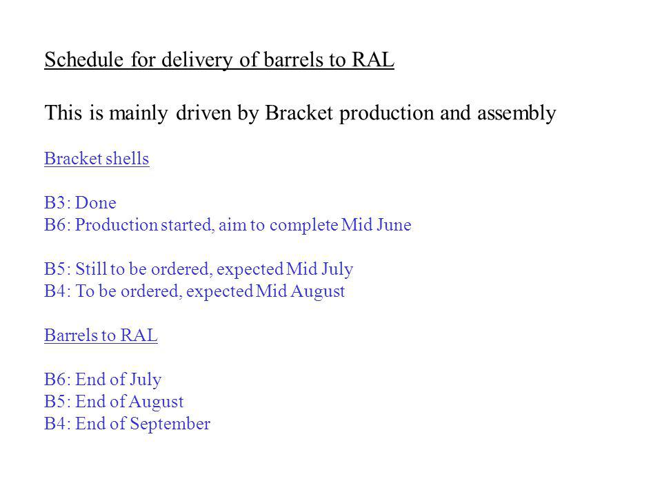 Schedule for delivery of barrels to RAL This is mainly driven by Bracket production and assembly Bracket shells B3: Done B6: Production started, aim to complete Mid June B5: Still to be ordered, expected Mid July B4: To be ordered, expected Mid August Barrels to RAL B6: End of July B5: End of August B4: End of September