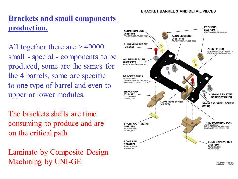 Brackets and small components production. All together there are > 40000 small - special - components to be produced, some are the sames for the 4 bar