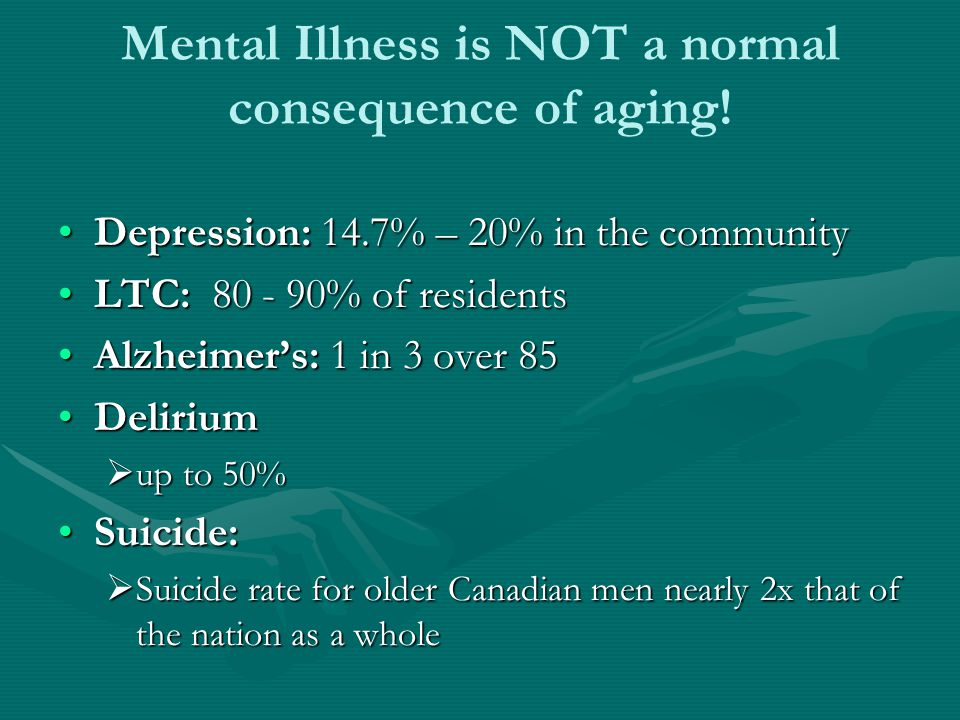 Mental Illness is NOT a normal consequence of aging! Depression: 14.7% – 20% in the communityDepression: 14.7% – 20% in the community LTC: 80 - 90% of