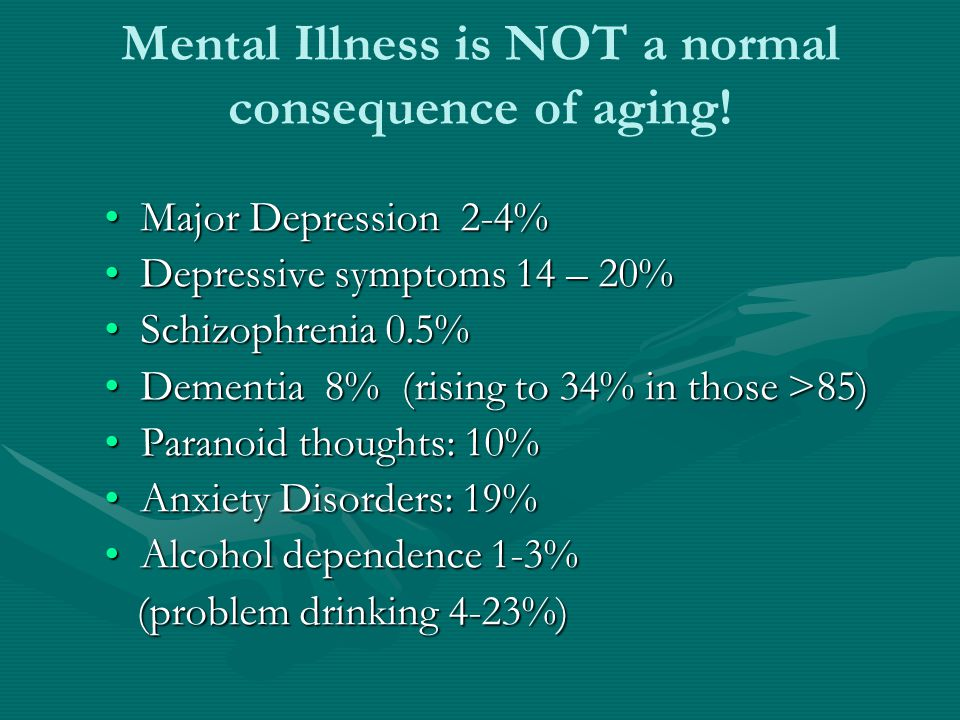 Mental Illness is NOT a normal consequence of aging! Major Depression 2-4%Major Depression 2-4% Depressive symptoms 14 – 20%Depressive symptoms 14 – 2