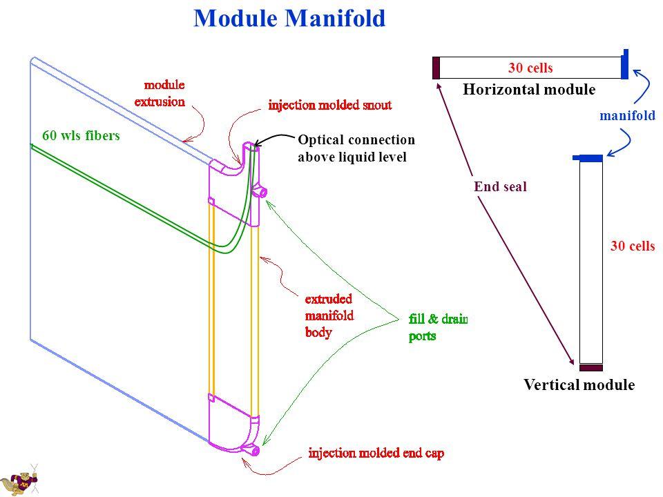 Module Manifold Optical connection above liquid level 60 wls fibers Horizontal module End seal 30 cells manifold Vertical module 30 cells
