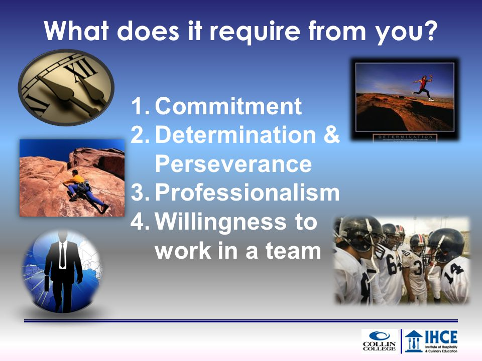 What does it require from you? 1.Commitment 2.Determination & Perseverance 3.Professionalism 4.Willingness to work in a team