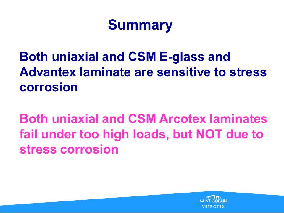Comparison CSM/uniaxial Arcotex Time to failure, h CSM Uniaxial Arcotex/Derakane 411- laminates