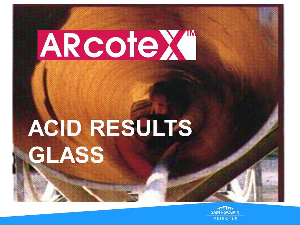 0 2 4 6 8 10 12 14 0123456 Concentration, M NaOH, 30°C Arcotex Advantex E-glass C-glass