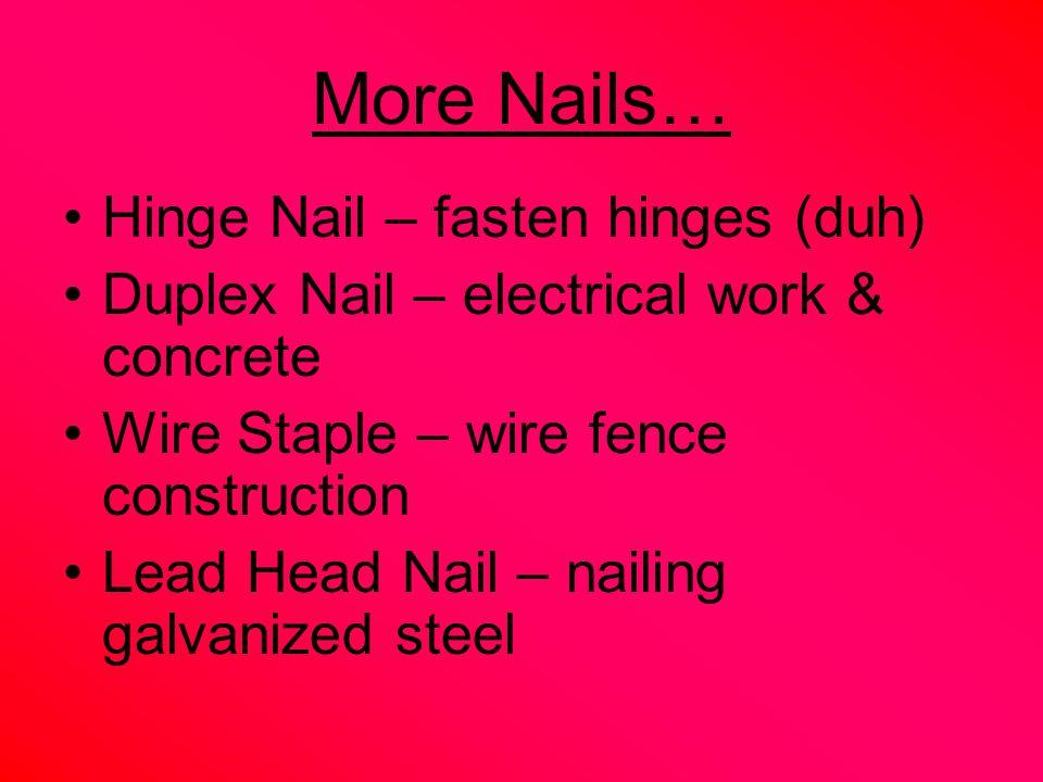 Nail Resistance Factors 1.Shank Diameter 2. Shank Type 3.