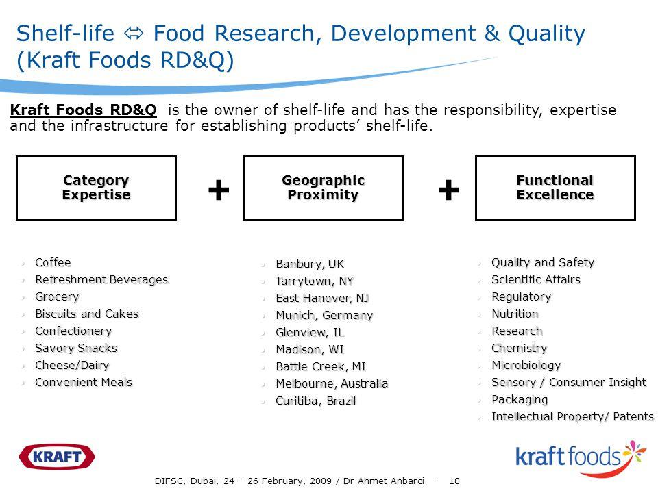 DIFSC, Dubai, 24 – 26 February, 2009 / Dr Ahmet Anbarci - 10 Shelf-life Food Research, Development & Quality (Kraft Foods RD&Q) CategoryExpertise Geog