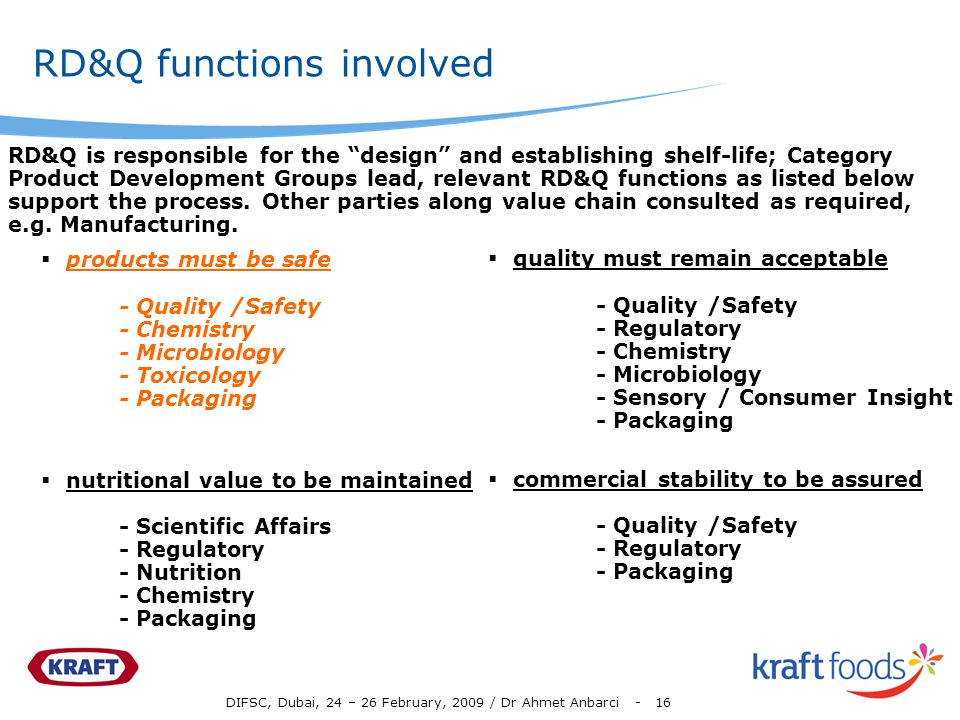 DIFSC, Dubai, 24 – 26 February, 2009 / Dr Ahmet Anbarci - 16 RD&Q functions involved products must be safe - Quality /Safety - Chemistry - Microbiolog
