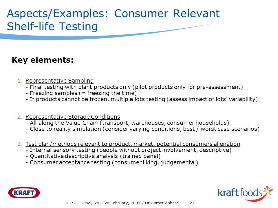 DIFSC, Dubai, 24 – 26 February, 2009 / Dr Ahmet Anbarci - 21 Aspects/Examples: Consumer Relevant Shelf-life Testing 1.Representative Sampling - Final