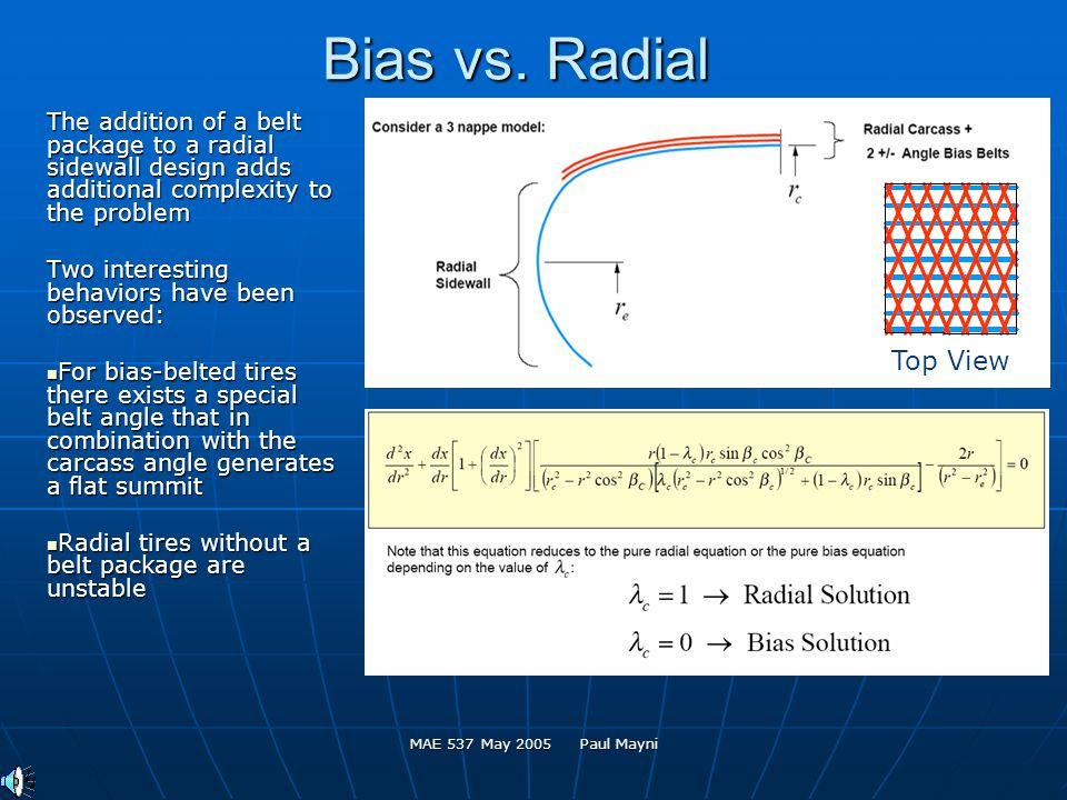 MAE 537 May 2005 Paul Mayni Bias vs. Radial The addition of a belt package to a radial sidewall design adds additional complexity to the problem Two i