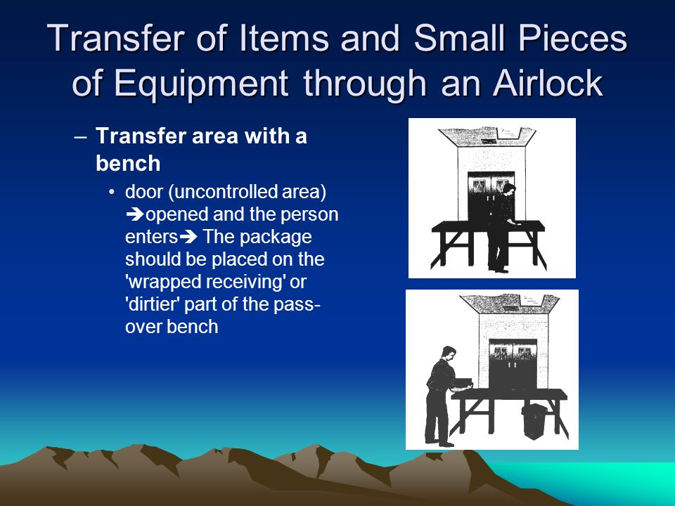 Transfer of Items and Small Pieces of Equipment through an Airlock –Transfer area with a bench door (uncontrolled area) opened and the person enters The package should be placed on the wrapped receiving or dirtier part of the pass- over bench