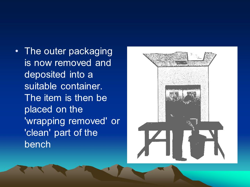 The outer packaging is now removed and deposited into a suitable container.