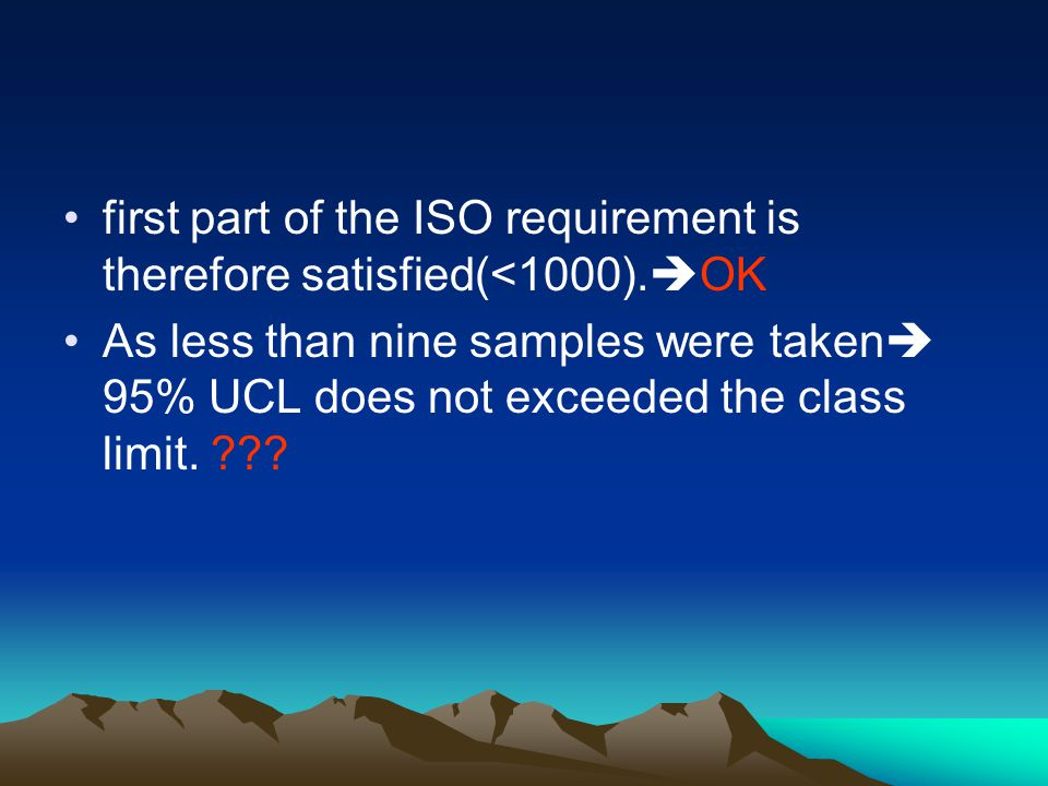 first part of the ISO requirement is therefore satisfied(<1000).