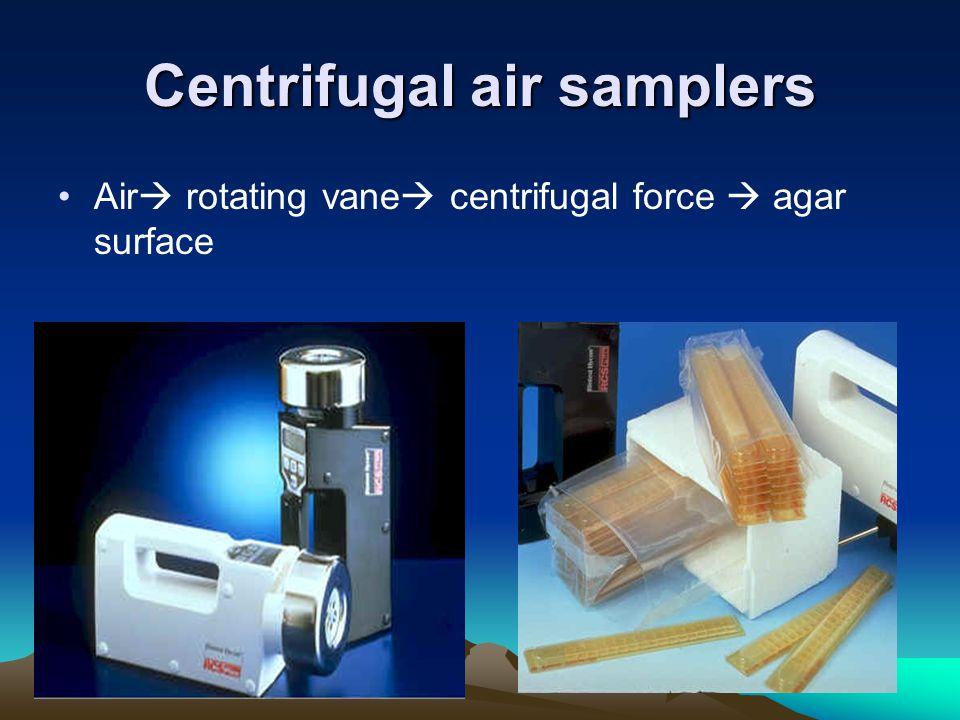 Centrifugal air samplers Air rotating vane centrifugal force agar surface