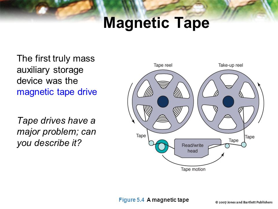Magnetic Tape The first truly mass auxiliary storage device was the magnetic tape drive Tape drives have a major problem; can you describe it? Figure