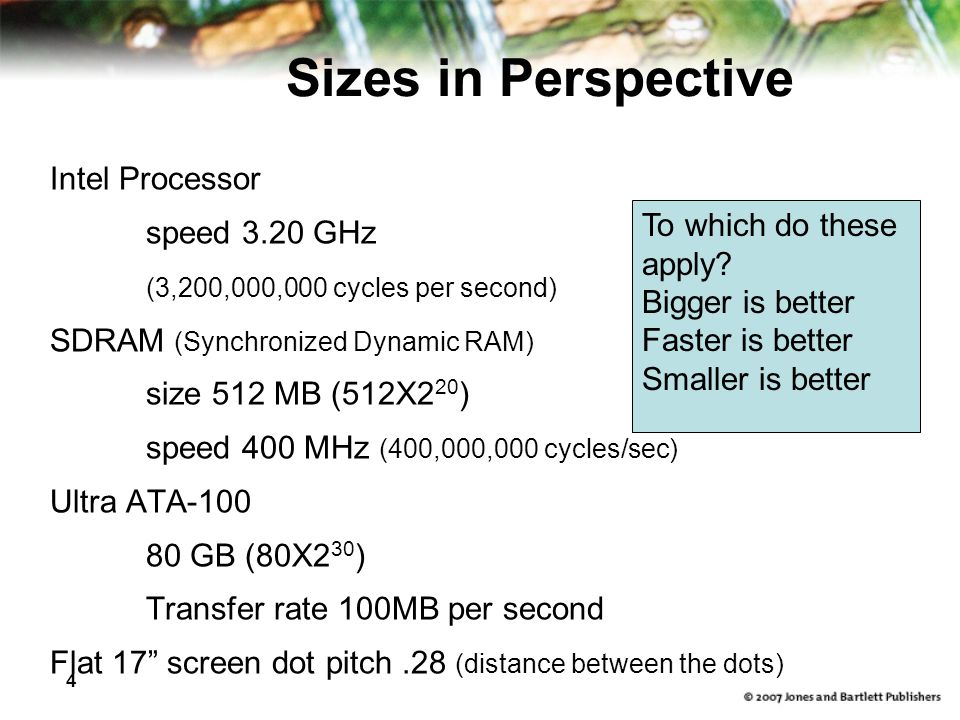 4 Sizes in Perspective Intel Processor speed 3.20 GHz (3,200,000,000 cycles per second) SDRAM (Synchronized Dynamic RAM) size 512 MB (512X2 20 ) speed