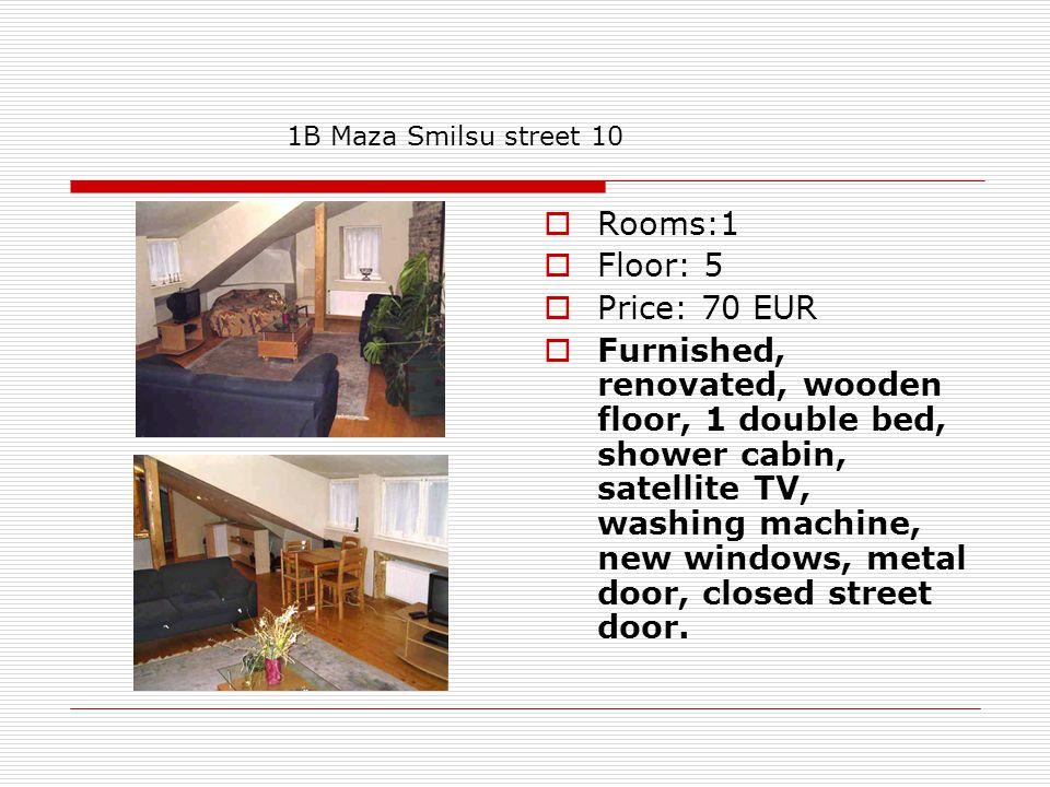 Rooms: 1 Floor: 3 Price: 70 EUR Studio, furnished, renovated, wooden floor, 1 double bed, shower cabin, satellite TV, washing machine with dryer, metal door, closed street door.
