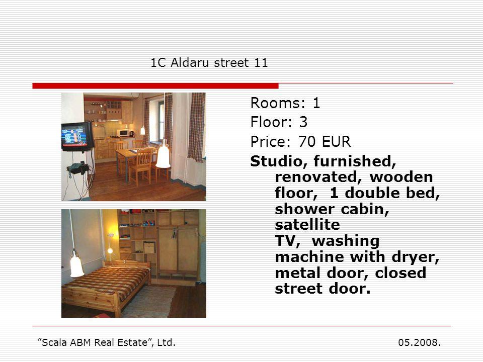 Rooms: 1 Floor: 3 Price: 70 EUR Studio, furnished, renovated, wooden floor, 1 double bed, shower cabin, satellite TV, washing machine with dryer, meta