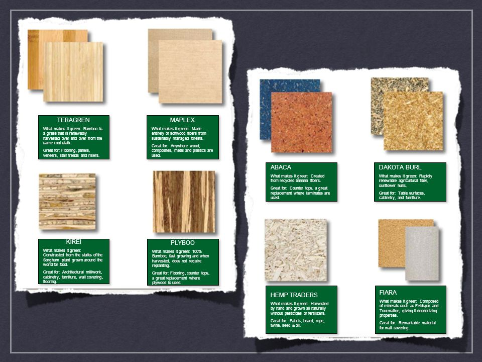 ABACA What makes it green: Created from recycled banana fibers. Great for: Counter tops, a great replacement where laminates are used. ABACA What make