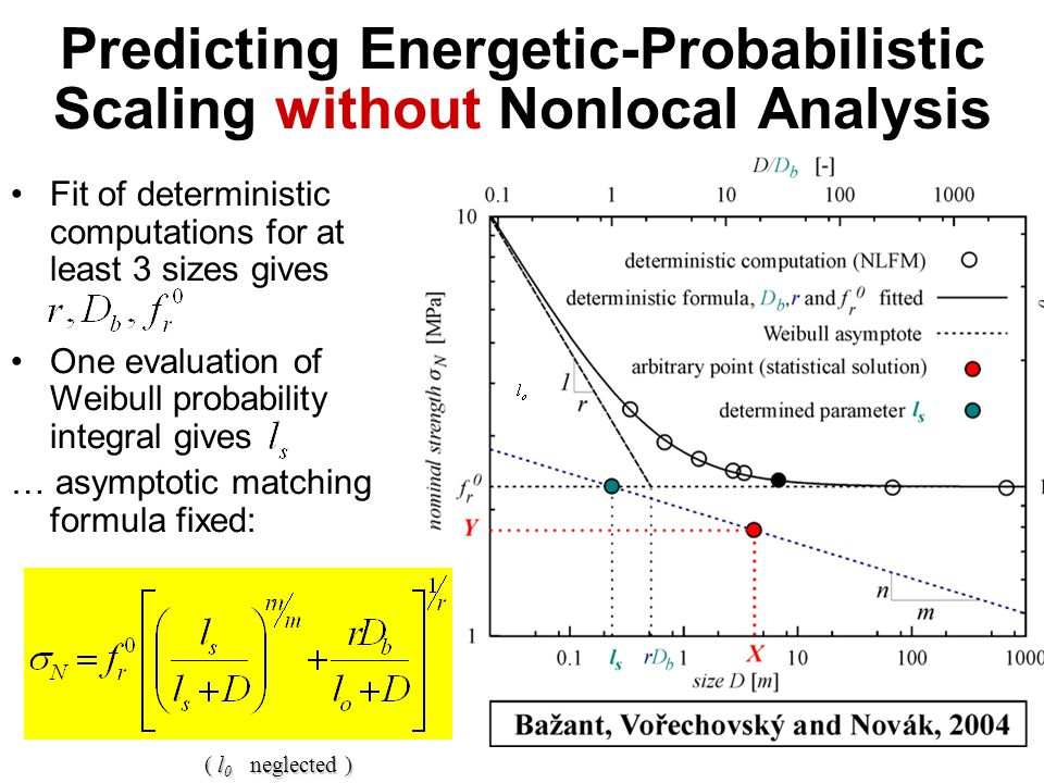 Predicting Energetic-Probabilistic Scaling without Nonlocal Analysis Fit of deterministic computations for at least 3 sizes gives One evaluation of Weibull probability integral gives … asymptotic matching formula fixed: ( l 0 neglected )
