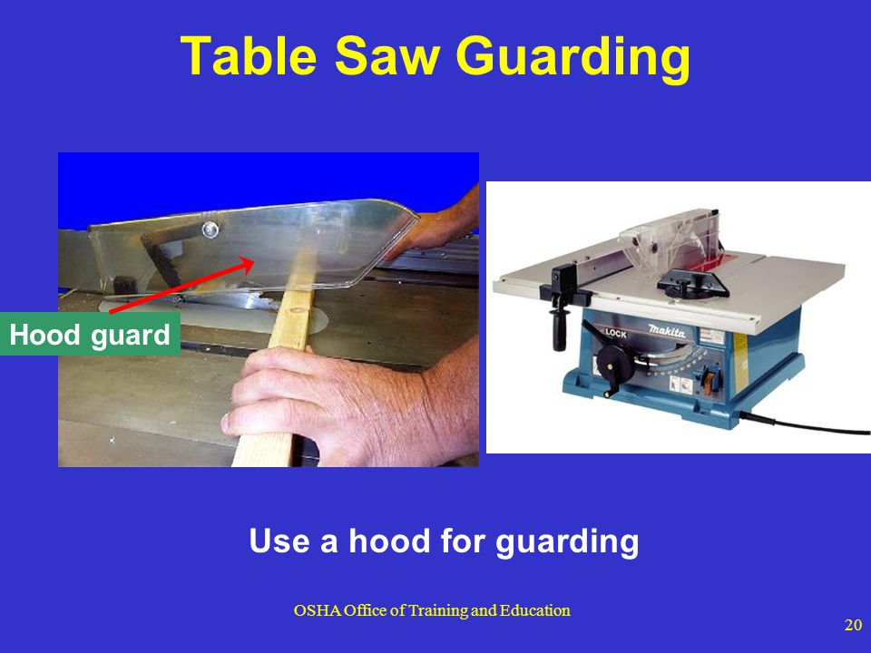 OSHA Office of Training and Education 20 Use a hood for guarding Hood guard Table Saw Guarding