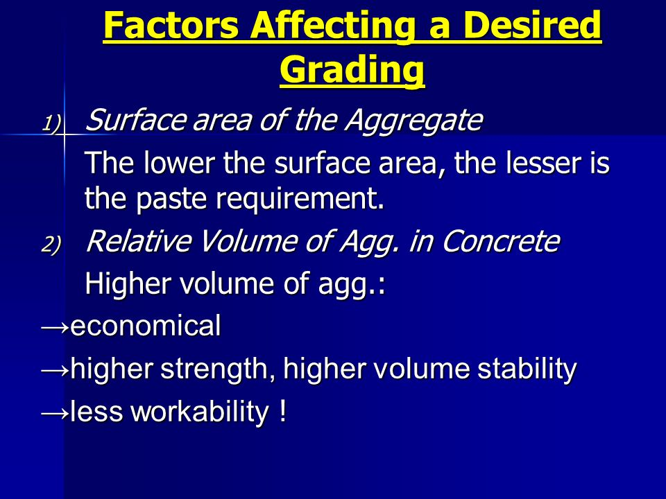 Factors Affecting a Desired Grading 1) Surface area of the Aggregate The lower the surface area, the lesser is the paste requirement. 2) Relative Volu