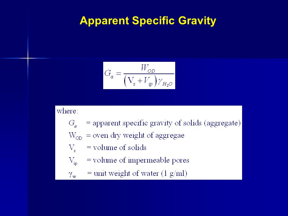 Apparent Specific Gravity Overall volume of the aggregate exclusive of the volume of the pores or Capillaries which become filled with water in 24 hrs