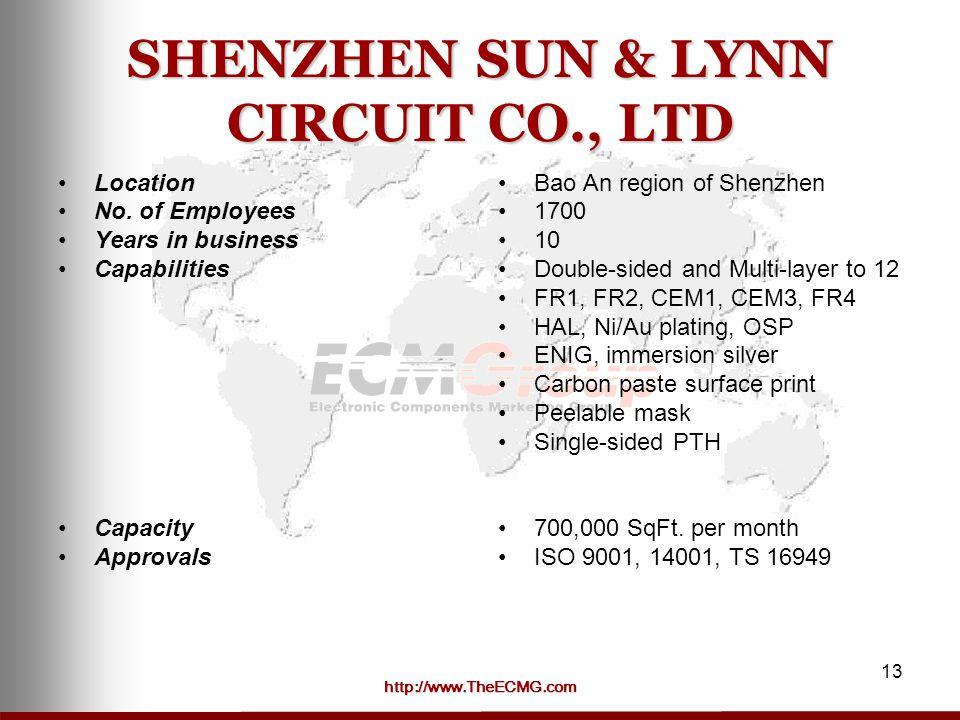 http://www.TheECMG.com 13 SHENZHEN SUN & LYNN CIRCUIT CO., LTD Location No.
