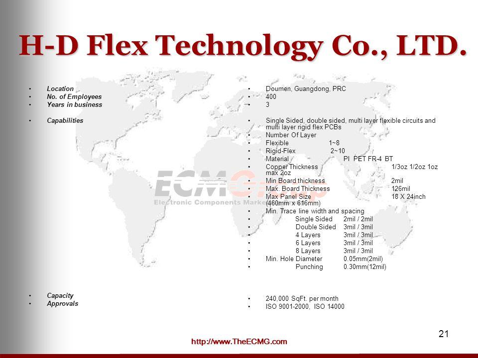 http://www.TheECMG.com 21 H-D Flex Technology Co., LTD.
