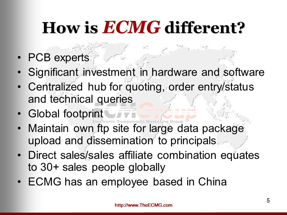 http://www.TheECMG.com 5 How is ECMG different.