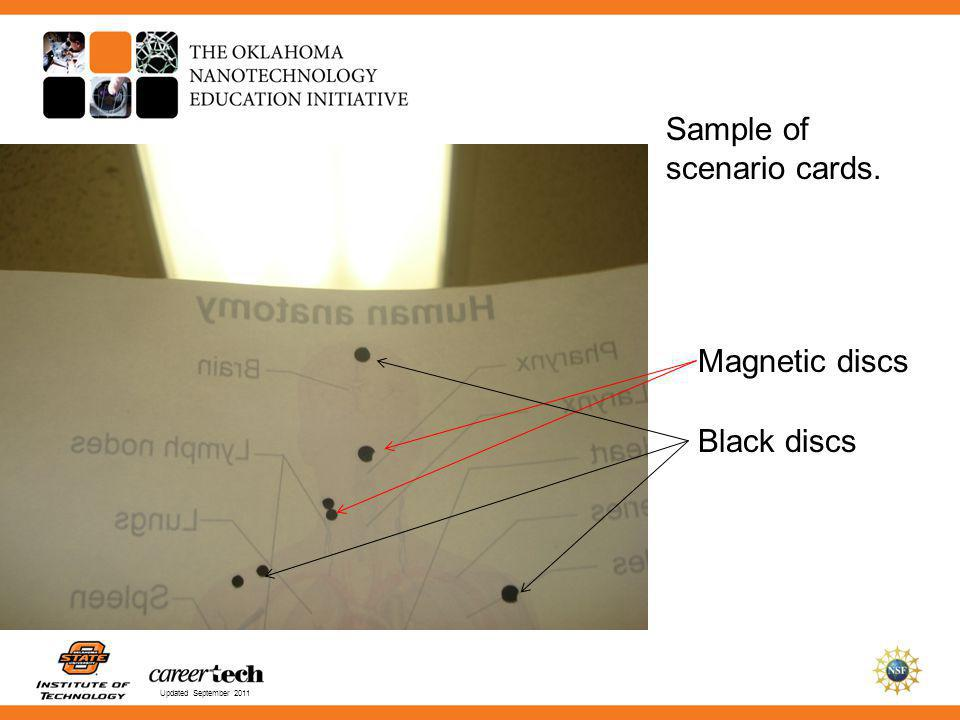Updated September 2011 Sample of scenario cards. Magnetic discs Black discs