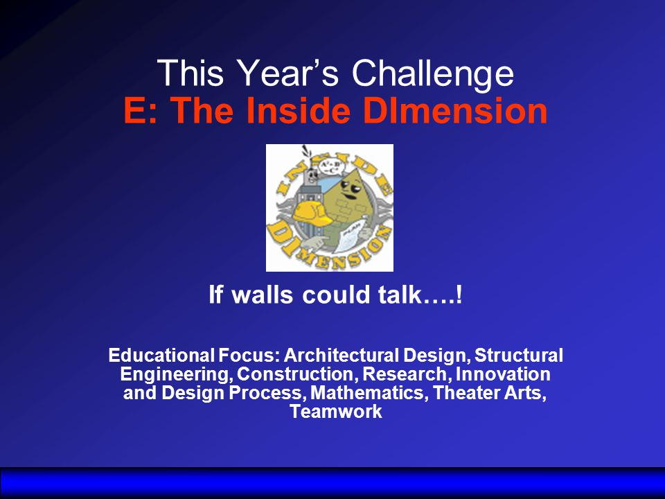 This Years Challenge E: The Inside DImension If walls could talk…..