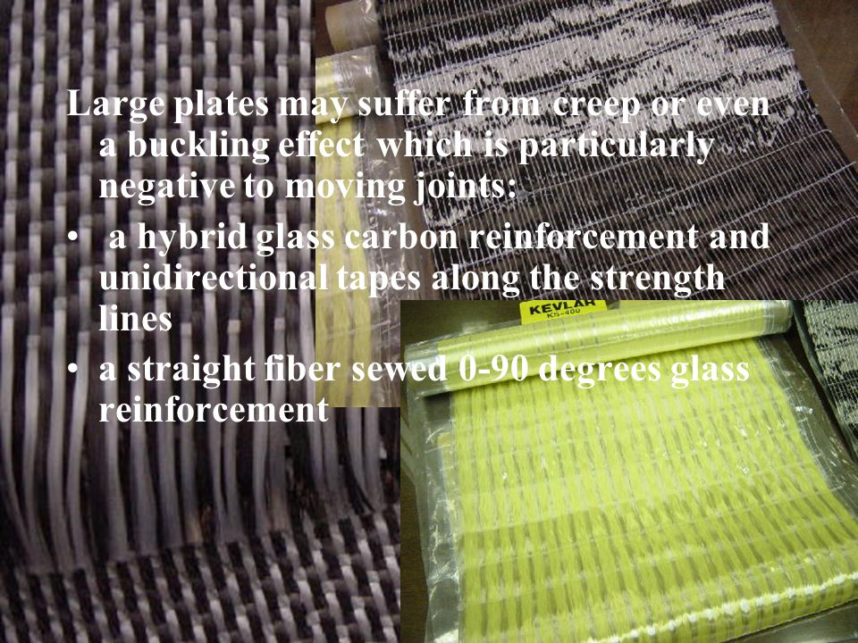 Buckling Large plates may suffer from creep or even a buckling effect which is particularly negative to moving joints: a hybrid glass carbon reinforcement and unidirectional tapes along the strength lines a straight fiber sewed 0-90 degrees glass reinforcement
