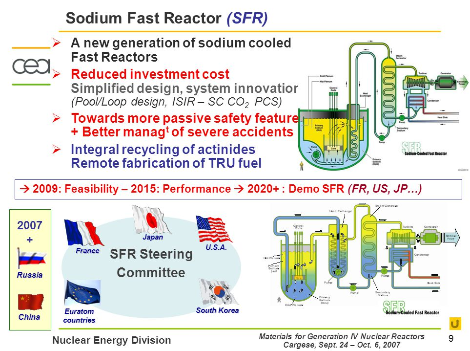 9 Nuclear Energy Division Materials for Generation IV Nuclear Reactors Cargese, Sept.