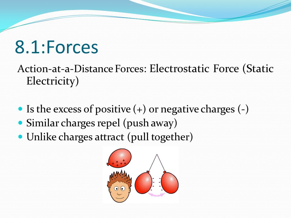 8.1:Forces Action-at-a-Distance Forces : Electrostatic Force (Static Electricity) Is the excess of positive (+) or negative charges (-) Similar charge