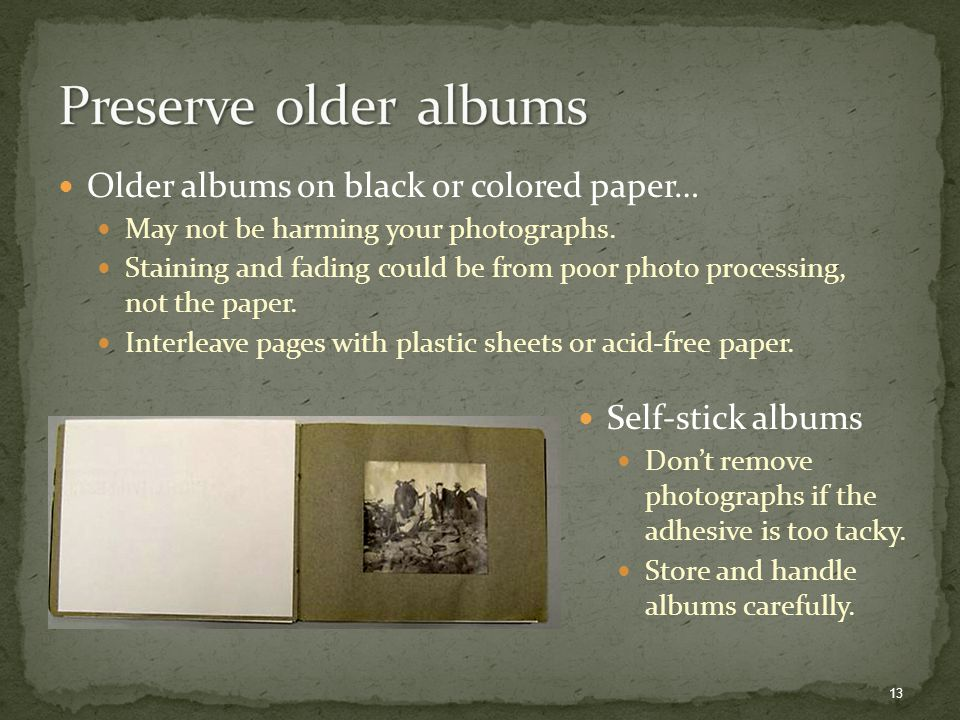 Older albums on black or colored paper… May not be harming your photographs.