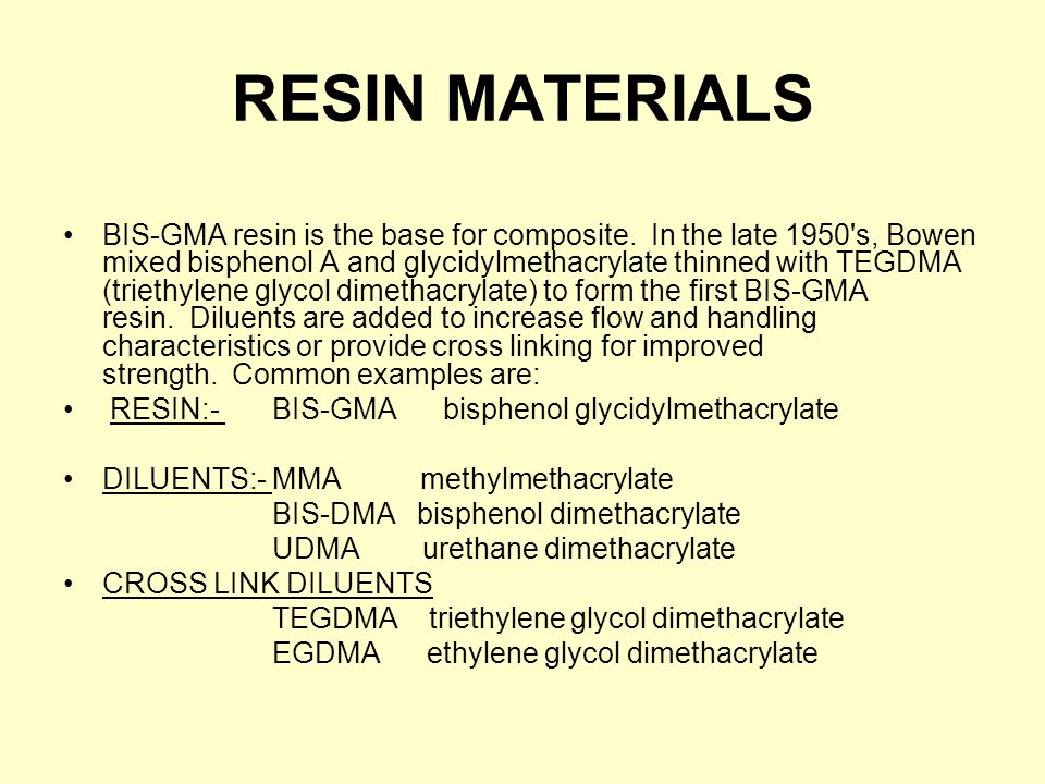 RESIN MATERIALS BIS-GMA resin is the base for composite.