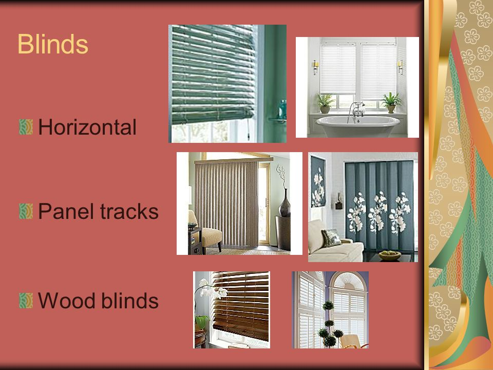 Blinds Horizontal Panel tracks Wood blinds