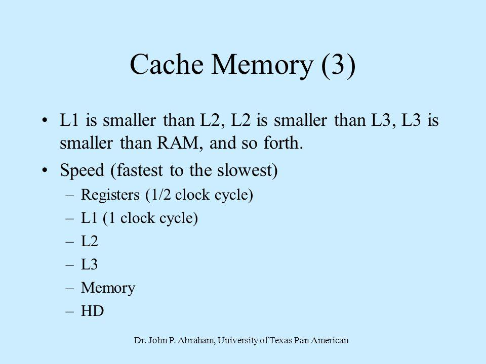 Dr. John P. Abraham, University of Texas Pan American Cache Memory (3) L1 is smaller than L2, L2 is smaller than L3, L3 is smaller than RAM, and so fo