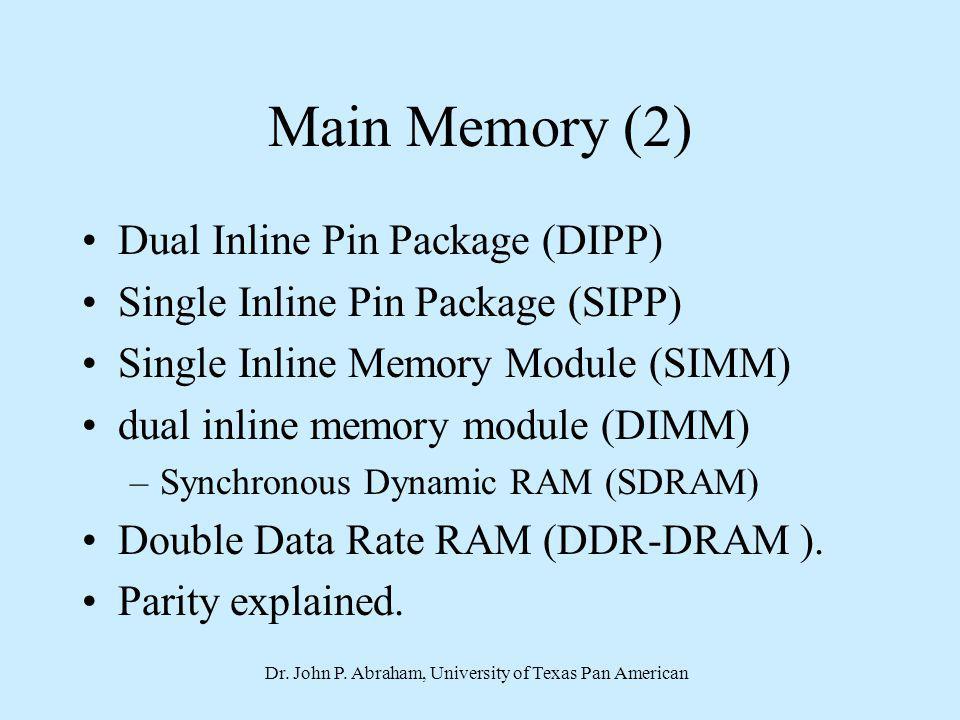 Dr. John P. Abraham, University of Texas Pan American Main Memory (2) Dual Inline Pin Package (DIPP) Single Inline Pin Package (SIPP) Single Inline Me