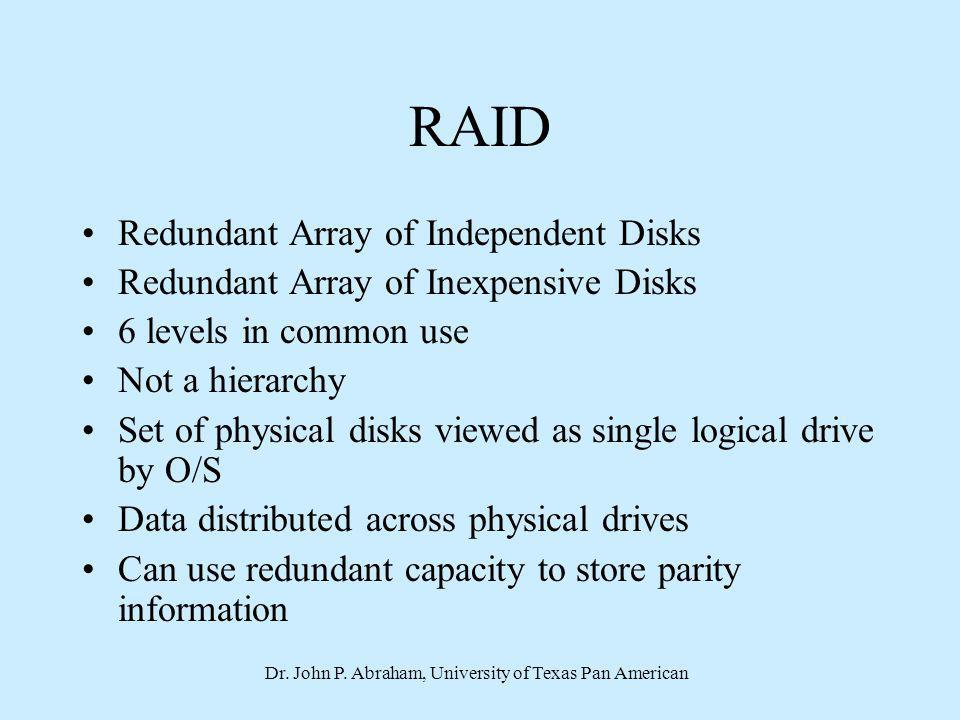 Dr. John P. Abraham, University of Texas Pan American RAID Redundant Array of Independent Disks Redundant Array of Inexpensive Disks 6 levels in commo