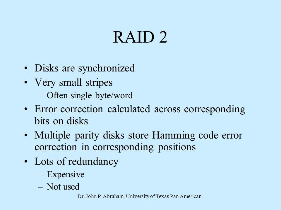 Dr. John P. Abraham, University of Texas Pan American RAID 2 Disks are synchronized Very small stripes –Often single byte/word Error correction calcul