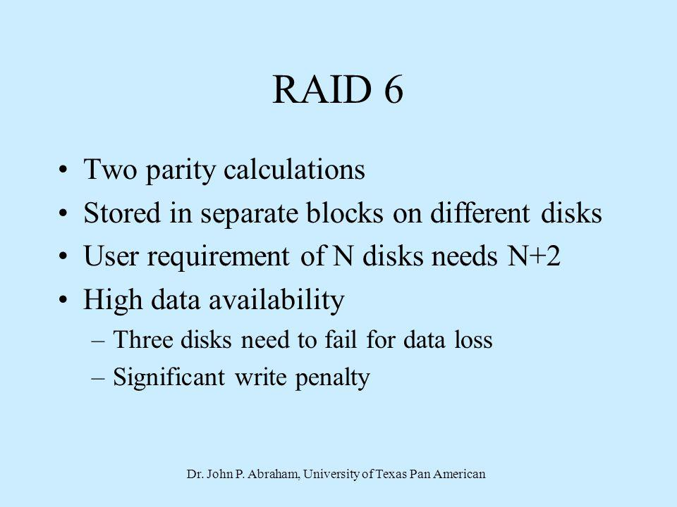 Dr. John P. Abraham, University of Texas Pan American RAID 6 Two parity calculations Stored in separate blocks on different disks User requirement of