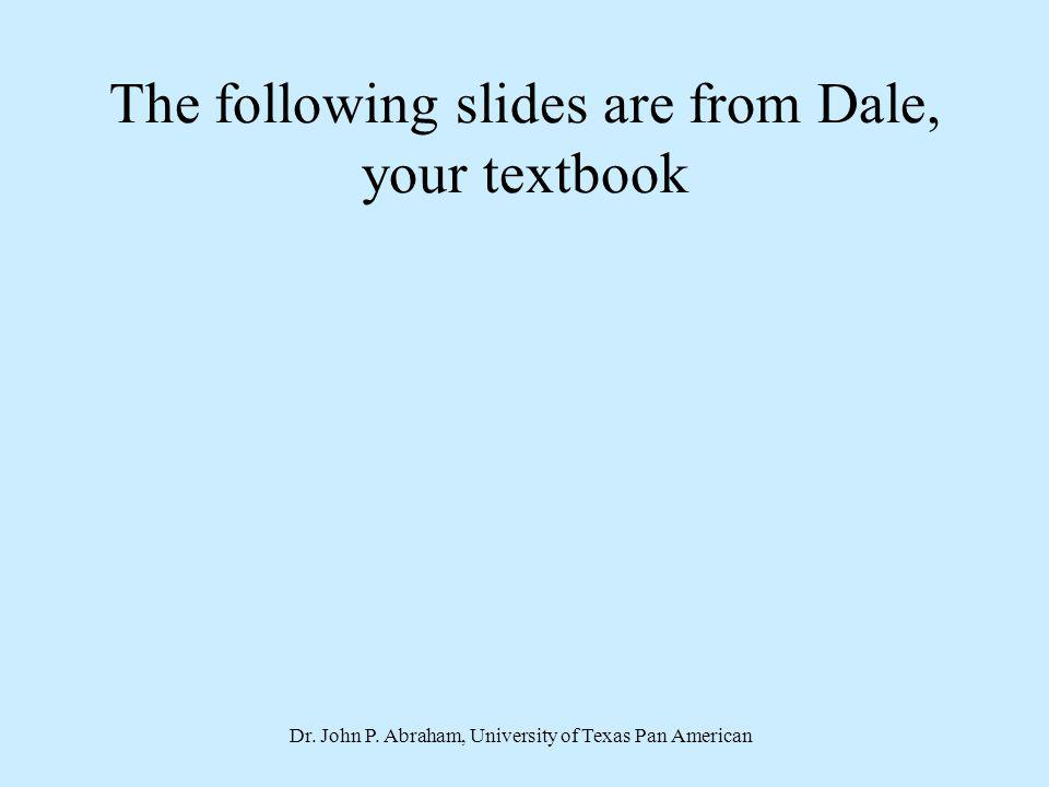 Dr. John P. Abraham, University of Texas Pan American The following slides are from Dale, your textbook