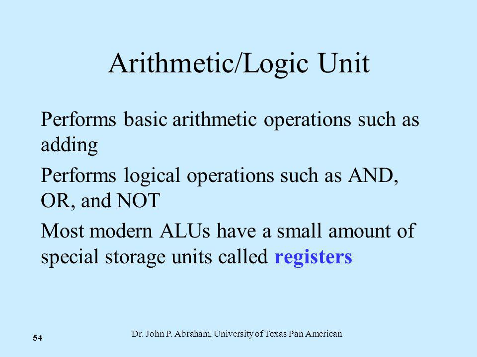 Dr. John P. Abraham, University of Texas Pan American 54 Arithmetic/Logic Unit Performs basic arithmetic operations such as adding Performs logical op
