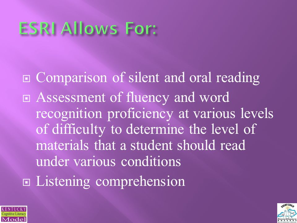 Comparison of silent and oral reading Assessment of fluency and word recognition proficiency at various levels of difficulty to determine the level of materials that a student should read under various conditions Listening comprehension 27