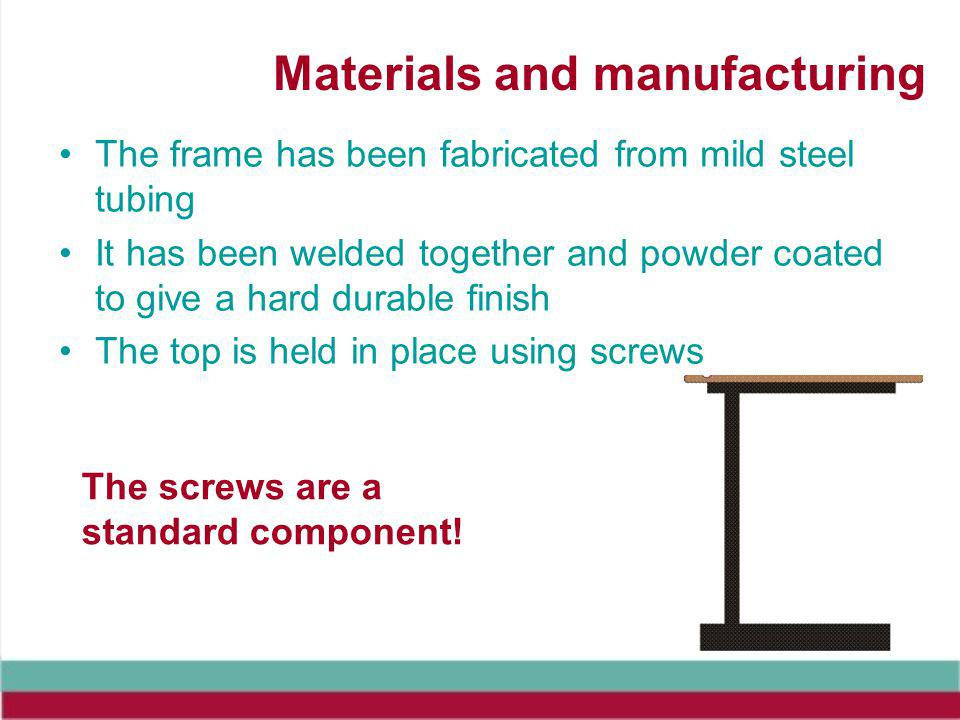 Materials and manufacturing The frame has been fabricated from mild steel tubing It has been welded together and powder coated to give a hard durable finish The top is held in place using screws The screws are a standard component!